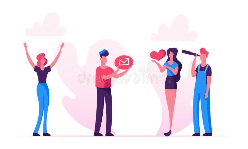 Relazioni sociali di media, blog, tenuta della donna nell'icona del cuore delle mani, uomo che guarda tramite il cannocchiale, bl illustrazione di stock