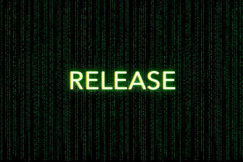 Release, keyword of scrum, on a green matrix background royalty free stock photos