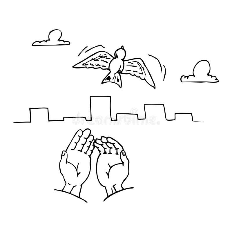 Release/versión de los pájaros ilustración del vector