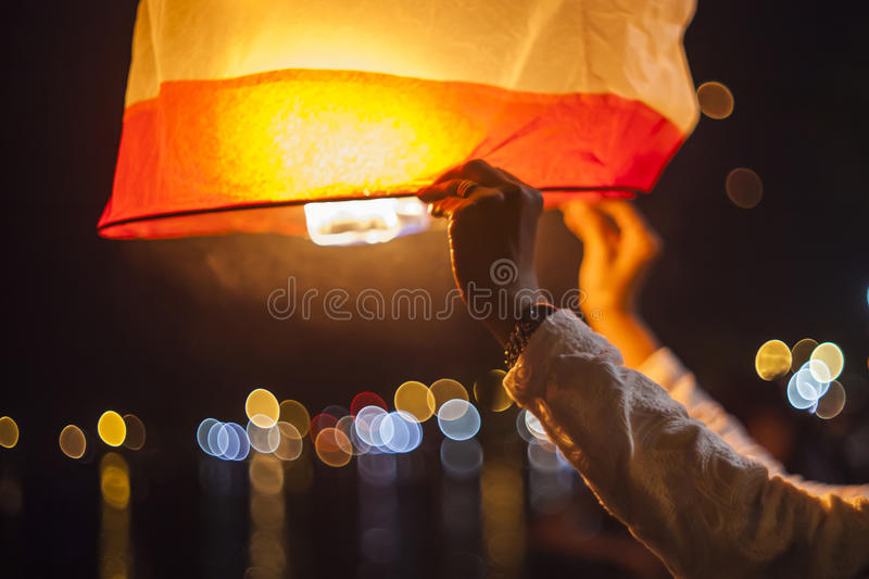 Releasing hot air lanterns royalty free stock photos