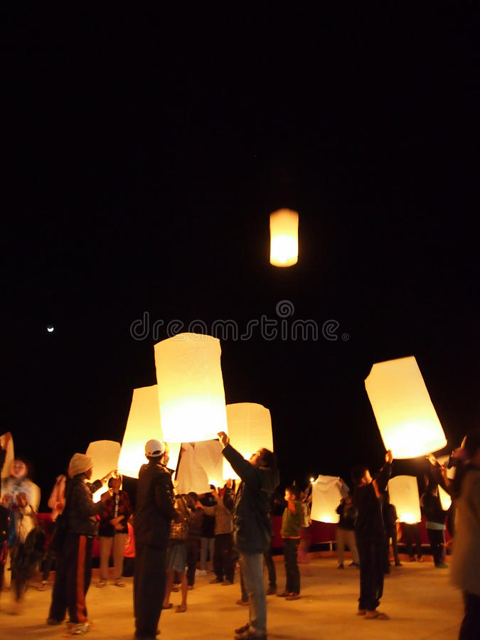 Releasing Sky Lanterns Thailand royalty free stock photo