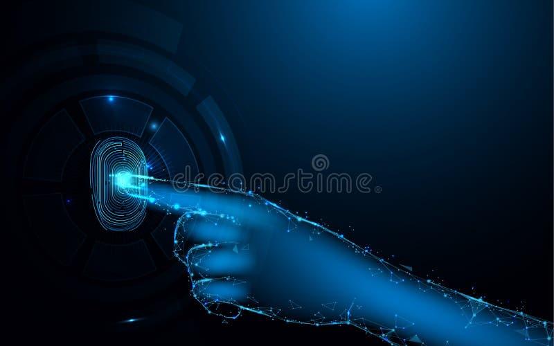 Relevez les empreintes digitales du balayage et de la main avec le fond conceptuel numérique de sécurité de technologie illustration de vecteur