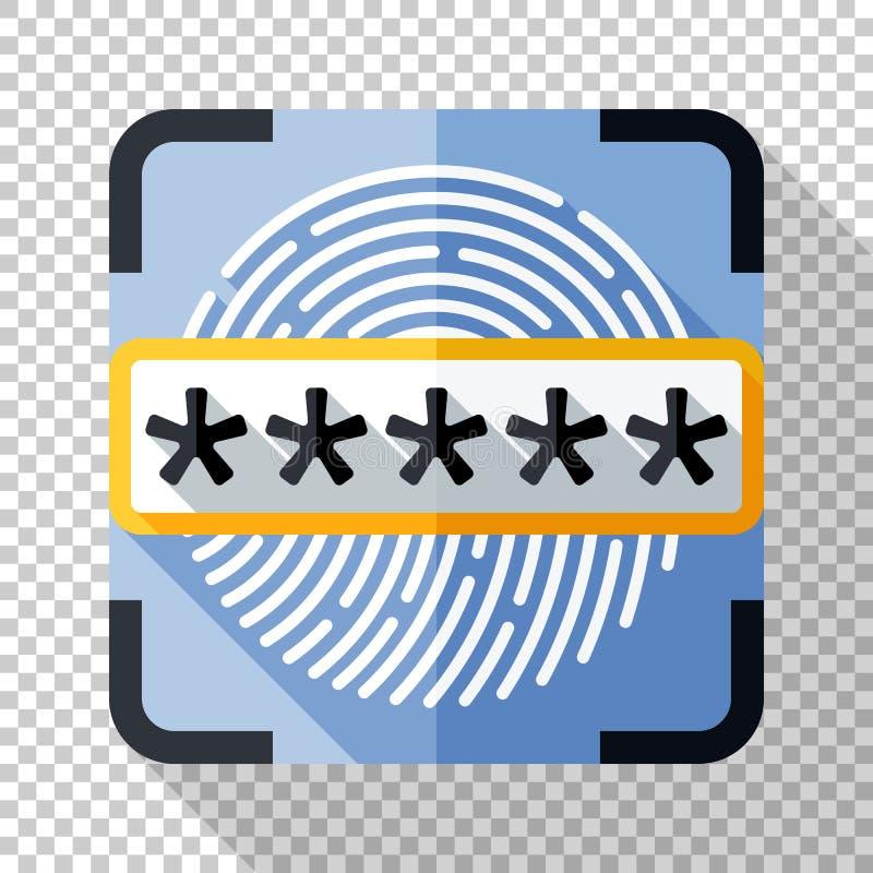 Relevez les empreintes digitales du scanner et de l'icône de champ de mot de passe dans le style plat sur le fond transparent illustration libre de droits