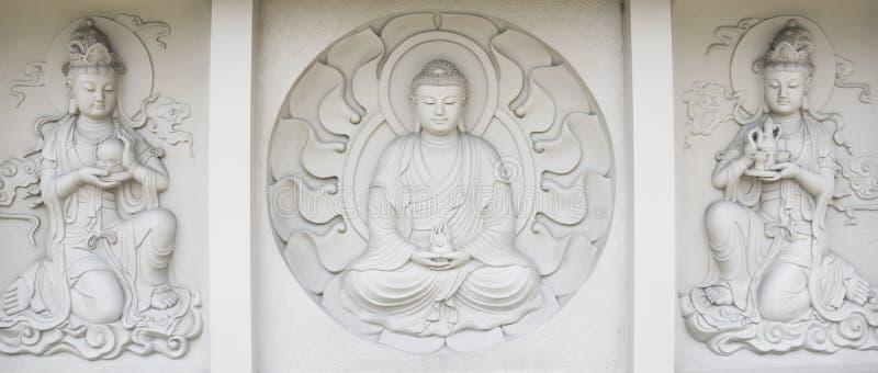 Relevo de Bas de buddha, no monastério budista do mendut fotografia de stock royalty free