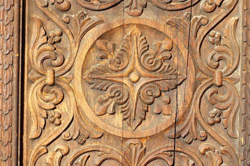 Relevo de Bas na madeira fotografia de stock