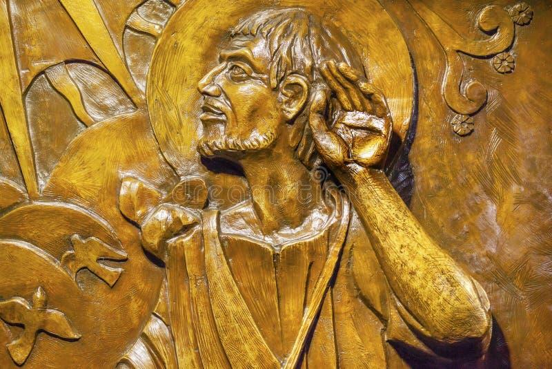 Relevo de bronze Juan Diego Guadalupe Shrine Mexico City Mexico fotos de stock