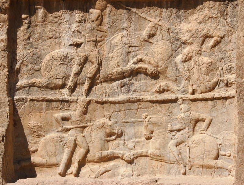 Relevo de Naqsh-e Rustam a vitória equestre de Bahram II imagem de stock