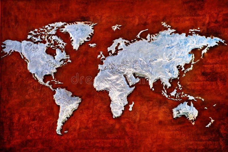 Relevo gravado do metal do mapa do mundo imagens de stock