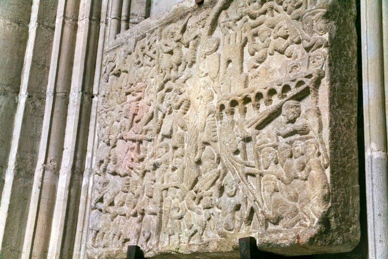 Relevo medieval que descreve o cerco de Carcassonne fotos de stock