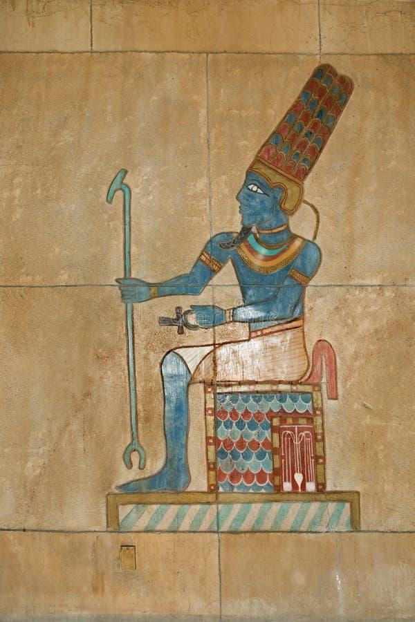 Relevo pintado egípcio antigo imagem de stock