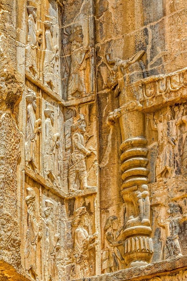 Relevo real dos túmulos de Persepolis foto de stock