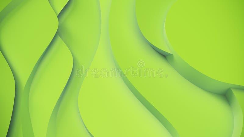 Relevo verde elegante Fundo topogr?fico abstrato Projeto fluido bonito as fitas ca?ticas criam o fluxo branco 3d ilustração stock