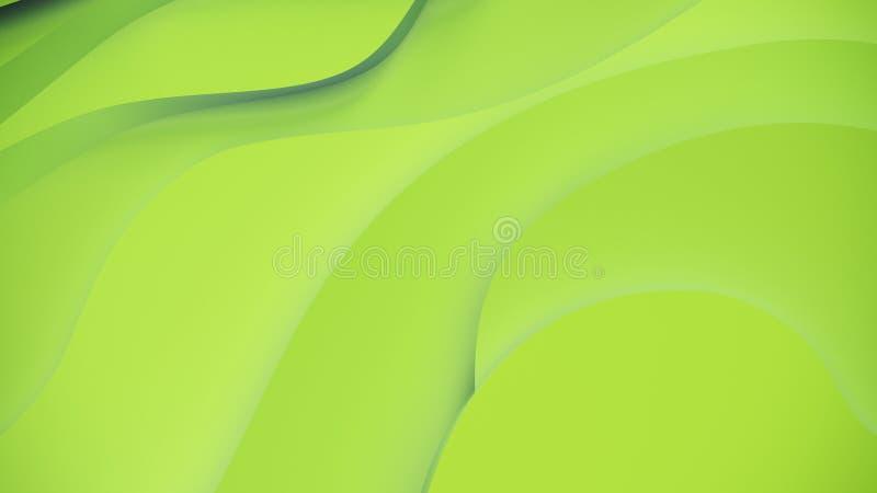 Relevo verde elegante Fundo topogr?fico abstrato Projeto fluido bonito as fitas ca?ticas criam o fluxo branco 3d ilustração do vetor