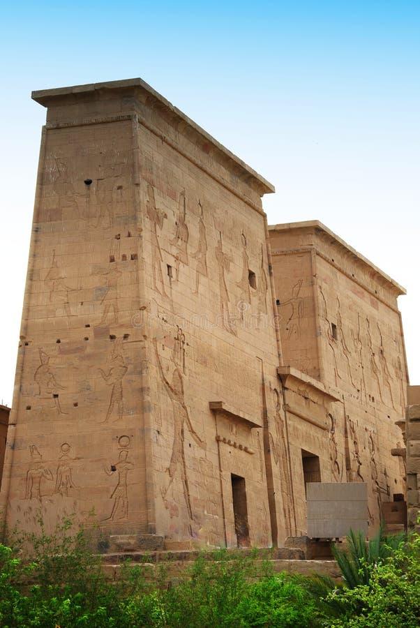 Relevos e colunas da ilha do arquivo, Assuan, Egito imagens de stock royalty free