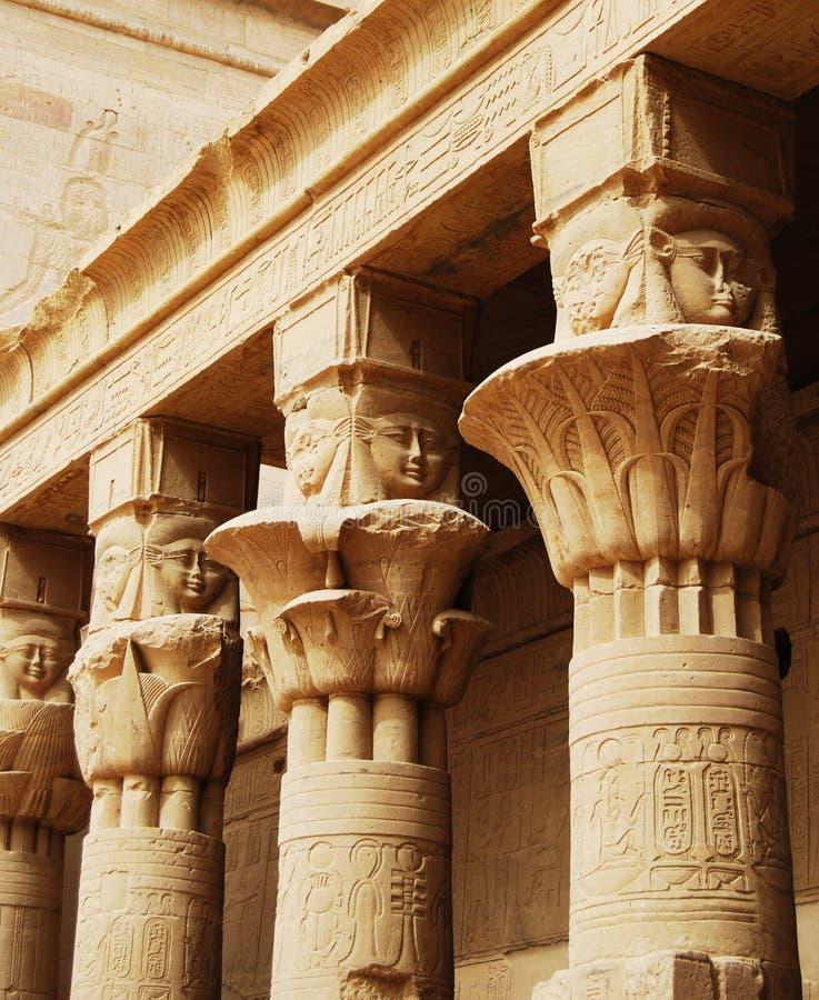 Relevos e colunas da ilha do arquivo, Assuan, Egito fotos de stock royalty free