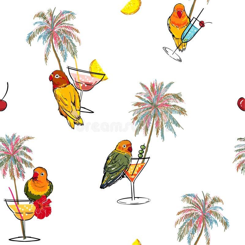 Relexing五颜六色的热带假期心情在手中拉长的棕榈树、鹦鹉鸟、鸡尾酒和夏天果子无缝的样式 皇族释放例证
