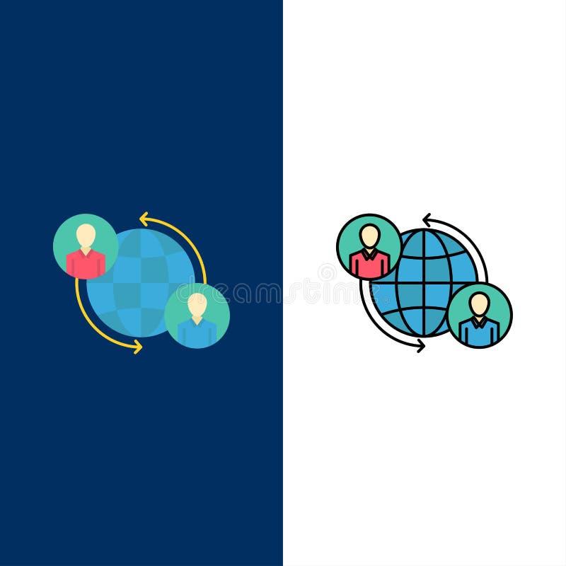 Relié, connexions, utilisateur, Internet, icônes globales L'appartement et la ligne icône remplie ont placé le fond bleu de vecte illustration libre de droits