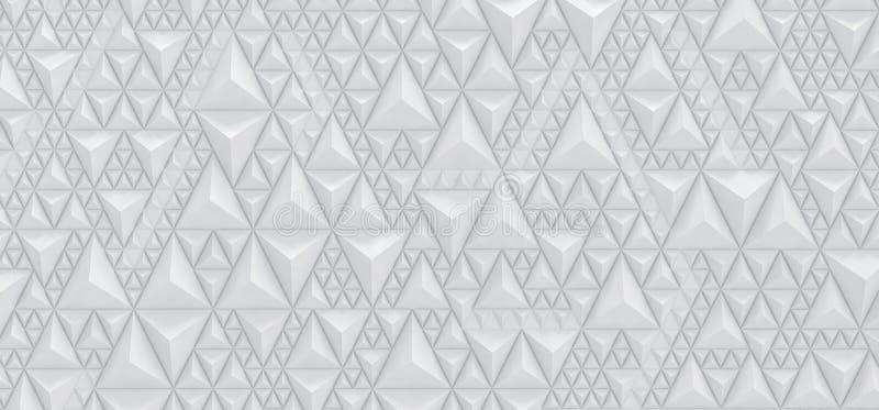 In reliëf gemaakte witte achtergrond van driehoeken - 3D illustratie royalty-vrije illustratie