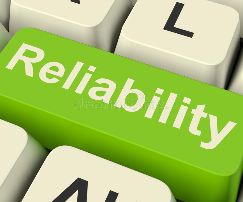 Reliability Computer Key Showing Certain Dependable Confidence stock images