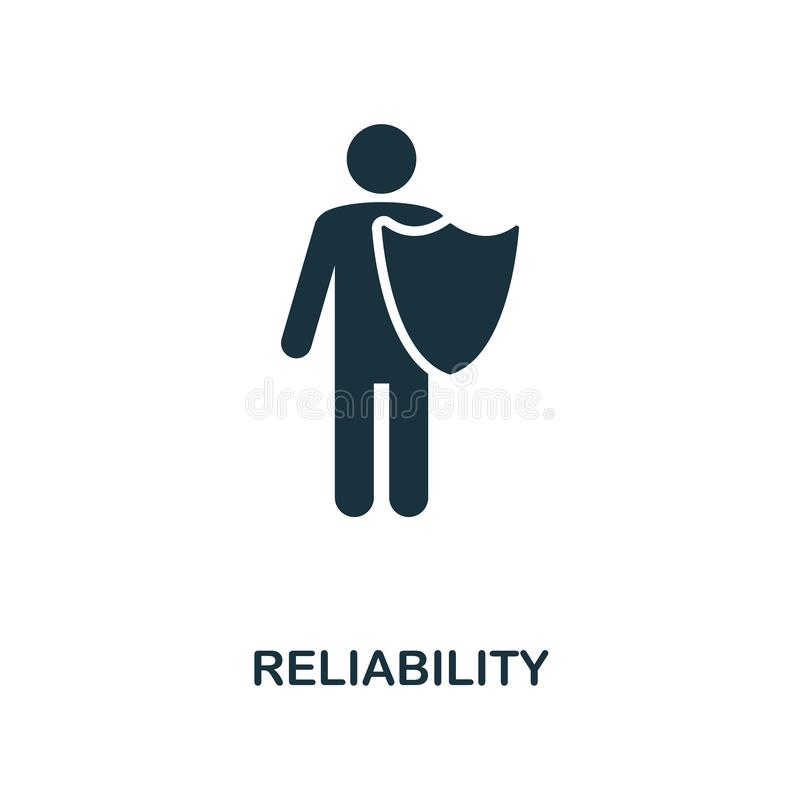 Reliability icon. Monochrome style design from business ethics icon collection. UI and UX. Pixel perfect reliability vector illustration