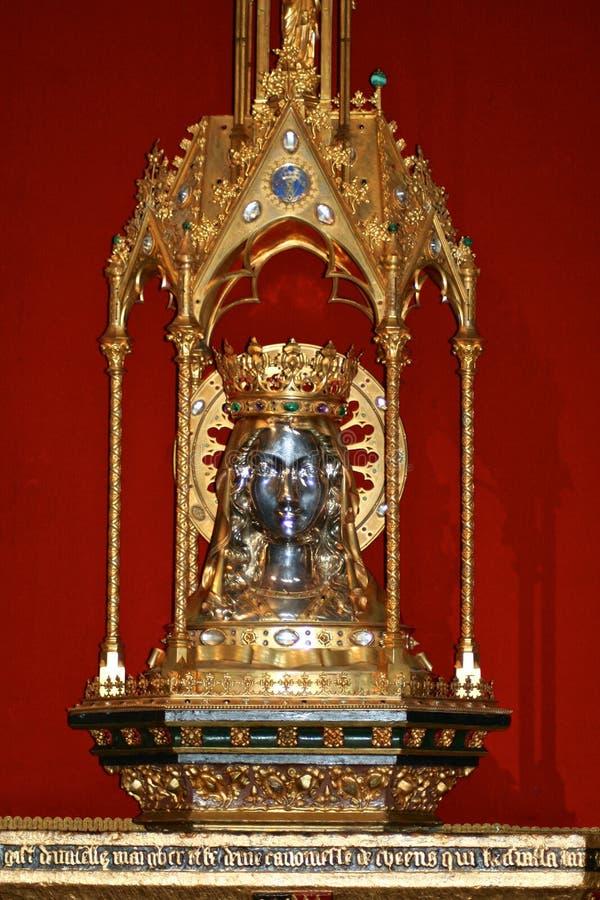 Relicario del santo Waltrude, Mons, Bélgica foto de archivo