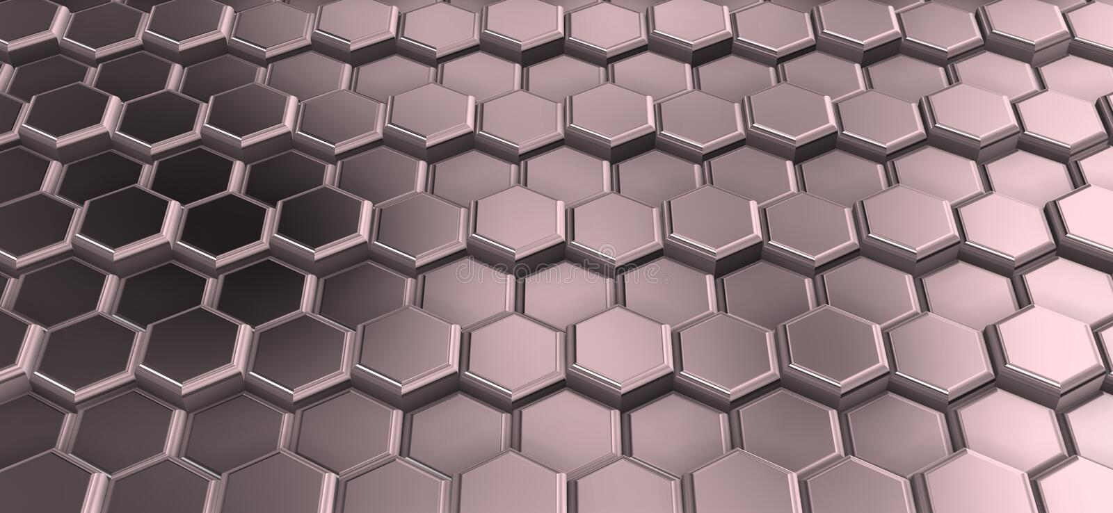 Perspactive of metal hexagons joined in rows. stock images