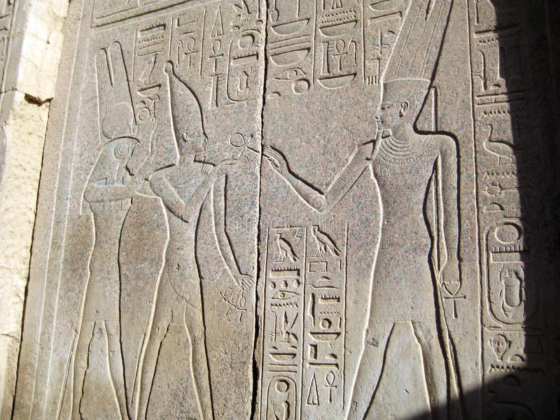 Relief of the Egyptian gods and pharaohs. Egypt sightseeings royalty free stock image