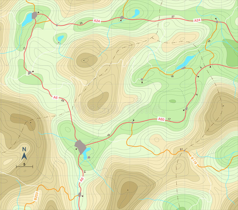 Relief map. Editable vector illustration of a generic map showing relief contours vector illustration