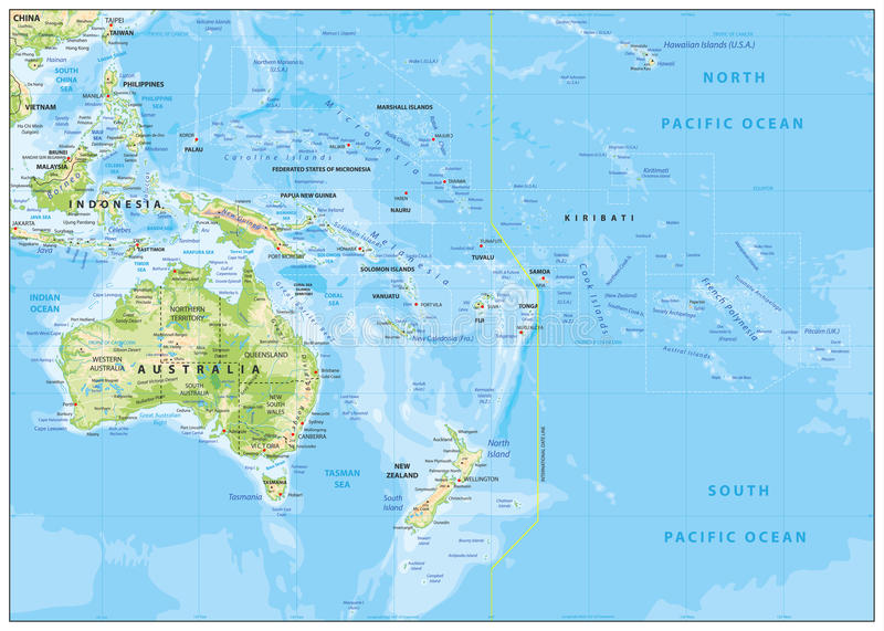 Relief Map of Oceania stock vector Illustration of contour 73632697