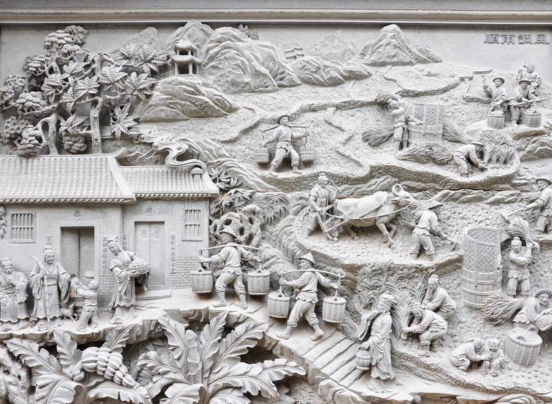Relief stone carving on wall about Rural life in ancient China stock images