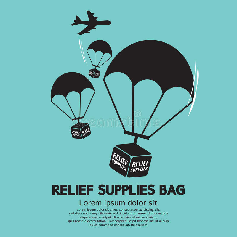 Free Relief Supplies Bag With Parachutes Royalty Free Stock Image - 45282746