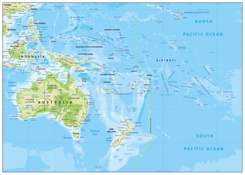 Reliefowa mapa Oceania ilustracji