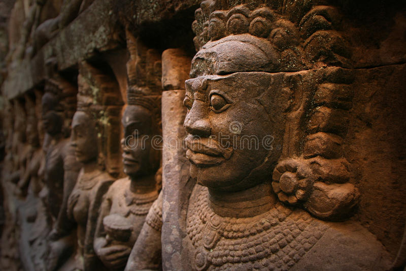 Angkor Wat, statua w Kambodża obraz stock