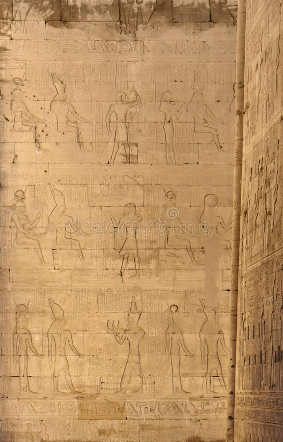 Reliefs at theTemple of Edfu in Egypt royalty free stock image