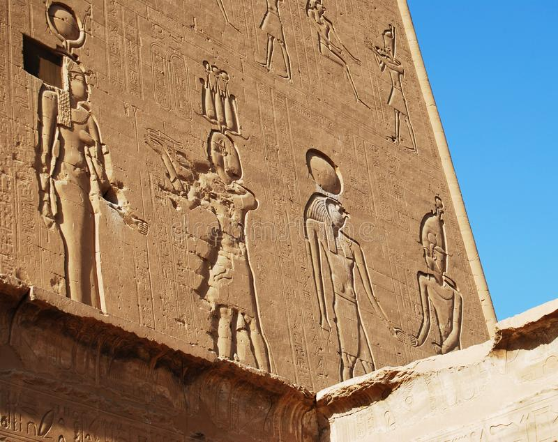 Reliefs on the walls of the Temple of Edfu, Nubia, Egypt royalty free stock photo