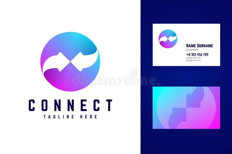 Reliez le calibre de carte de visite professionnelle de logo et de visite Deux flèches sur le gradient illustration stock