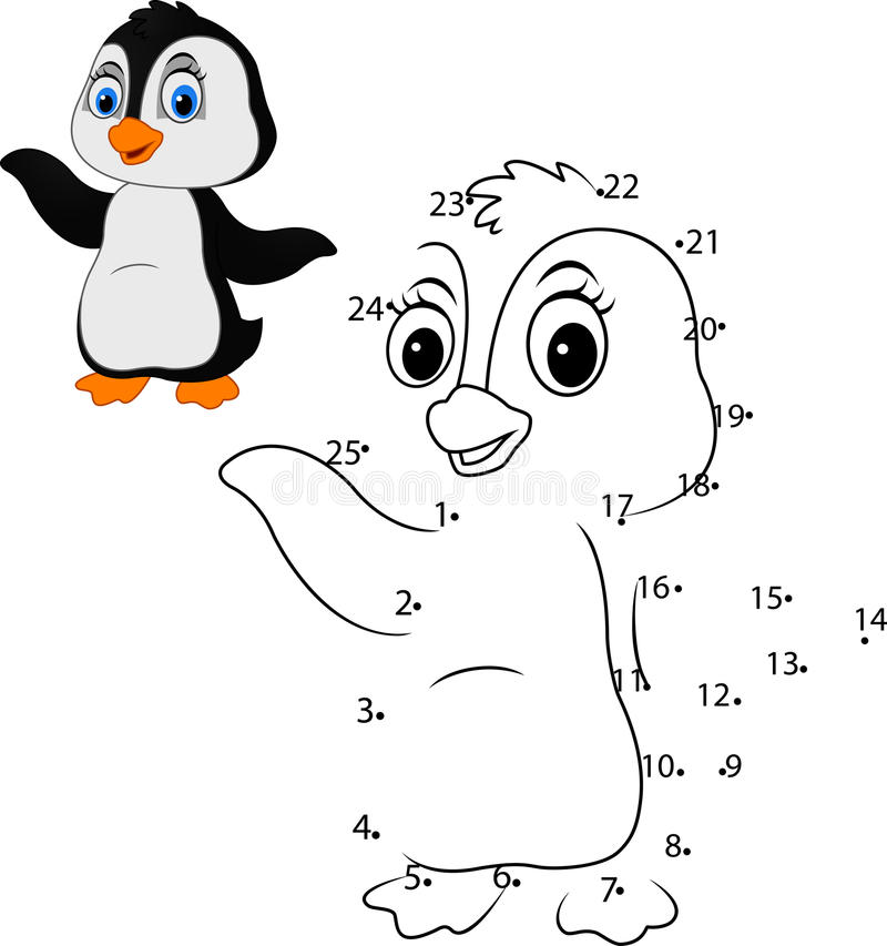 Reliez le nombre pour dessiner le jeu éducatif animal pour des enfants, petit pingouin mignon illustration de vecteur