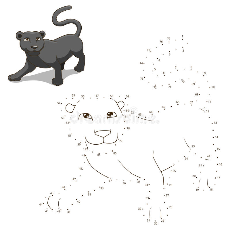 Reliez les points au jeu éducatif animal d'aspiration illustration stock