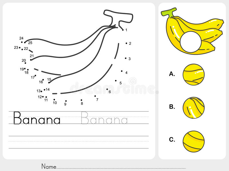 Reliez les points de la banane et trouvez la photo absente illustration de vecteur