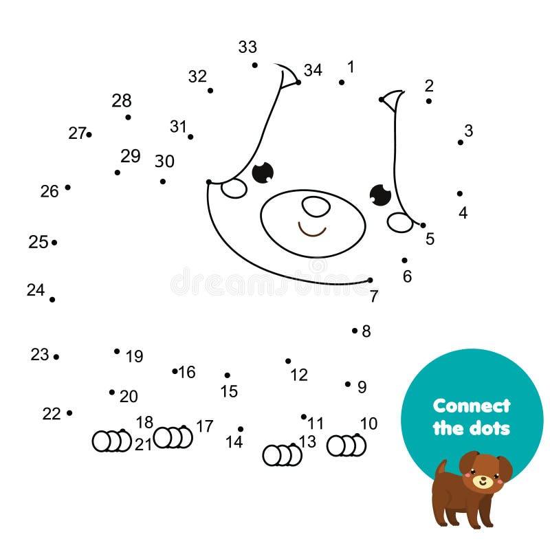 Reliez les points par des nombres Jeu éducatif pour des enfants et des enfants Thème d'animaux, chien de bande dessinée illustration stock