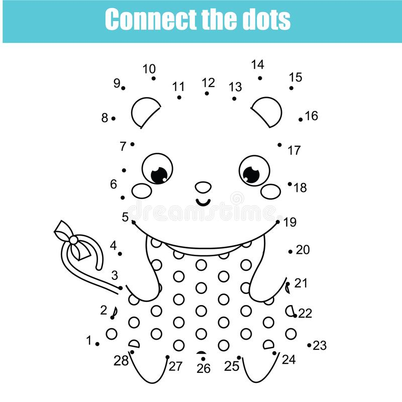 Reliez les points par des nombres Jeu éducatif pour des enfants et des enfants Thème d'animaux, souris illustration libre de droits