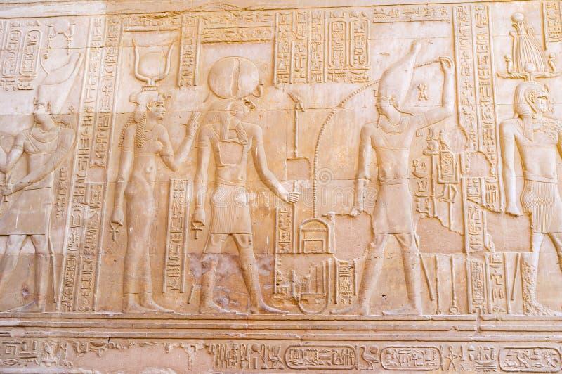 Relifsna i den Kom Ombo templet arkivfoton