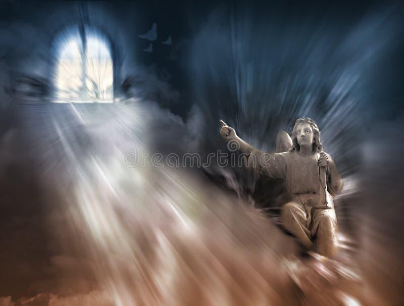 Religião - anjo e céu ilustração royalty free