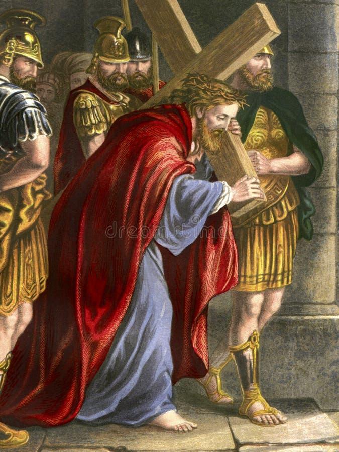 Religião - através de Dolorosa - estações da cruz ilustração do vetor