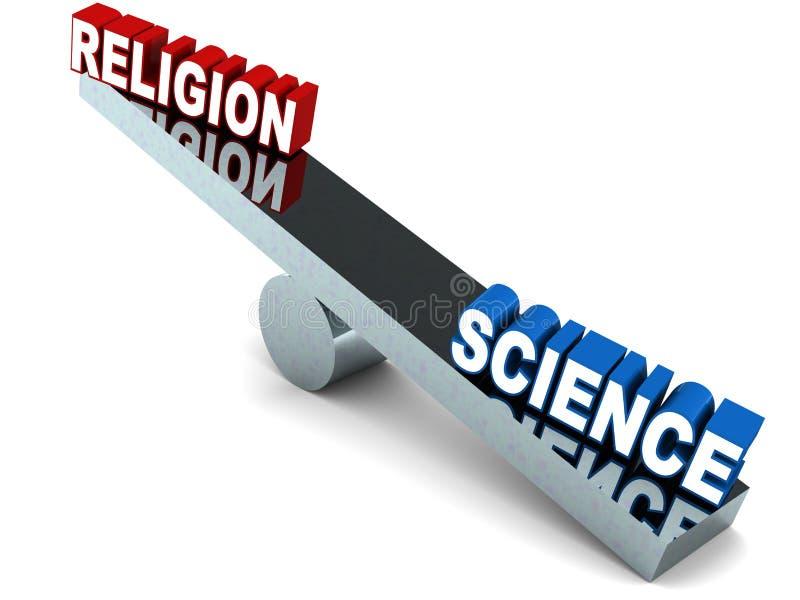 Religião contra a ciência ilustração stock