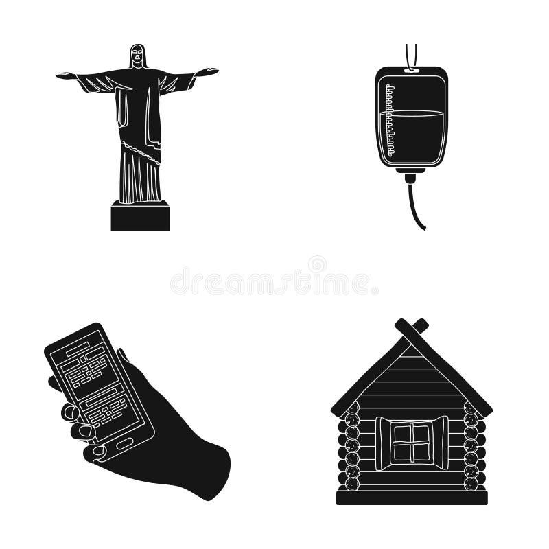 Religião, curso e ou ícone da Web no estilo preto medicina, ícones do serviço na coleção do grupo ilustração stock