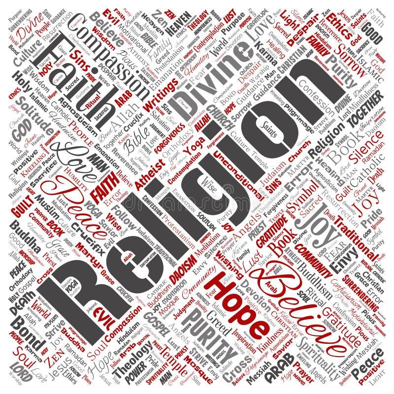 Religião do vetor, nuvem da palavra da espiritualidade ilustração do vetor