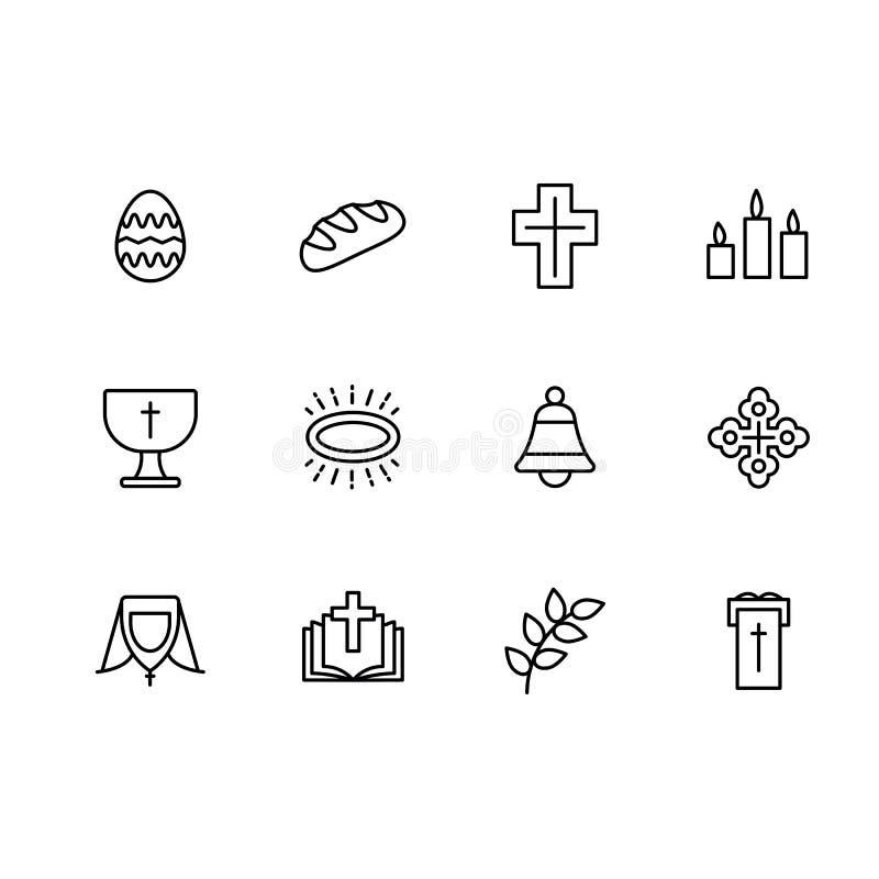 Religião dos símbolos ajustados e linha simples ícone da igreja Contém tal ovo da páscoa do ícone, pão, cruz, velas do sino, livr ilustração royalty free