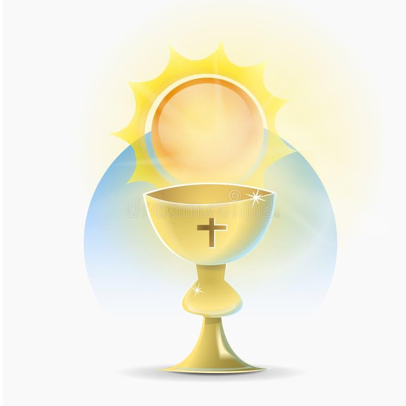 Religión cristiana santa de la cáliz stock de ilustración