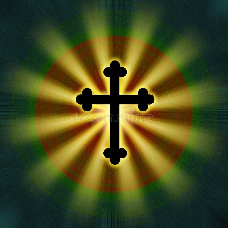 Religión cruzada del símbolo del resplandor stock de ilustración